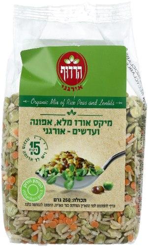 מיקס אורז מלא, אפונה ועדשים אורגני הרדוף - 250 גרם
