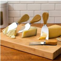 """מגש הגשה לגבינות כולל סט סכינים מהודר וצלחת מזאטים בשווי 79.90ש""""ח במתנה."""