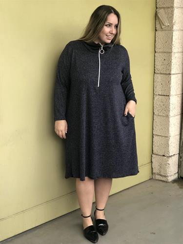 שמלת פריז ריב כחול