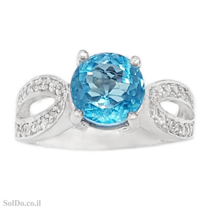 טבעת מכסף משובצת אבן טופז כחולה וזרקונים RG6130 | תכשיטי כסף 925 | טבעות כסף