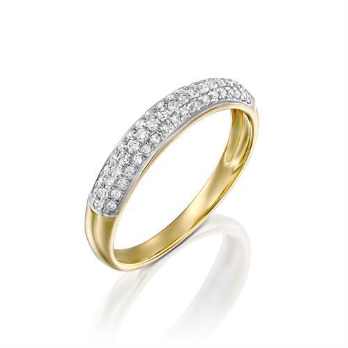 טבעת מרבד הקסמים משובצת יהלומים בזהב לבן או צהוב 14 קראט