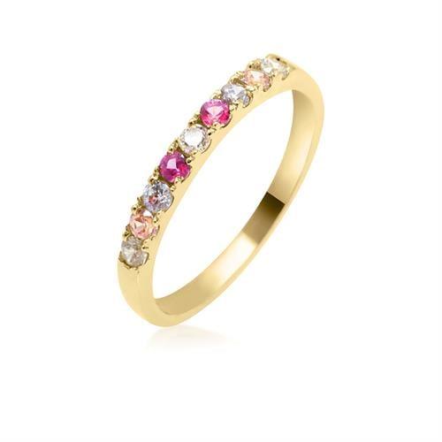 טבעת זרקונים צבעוניות ורודות בזהב 14 קרט|טבעת זהב משלימה