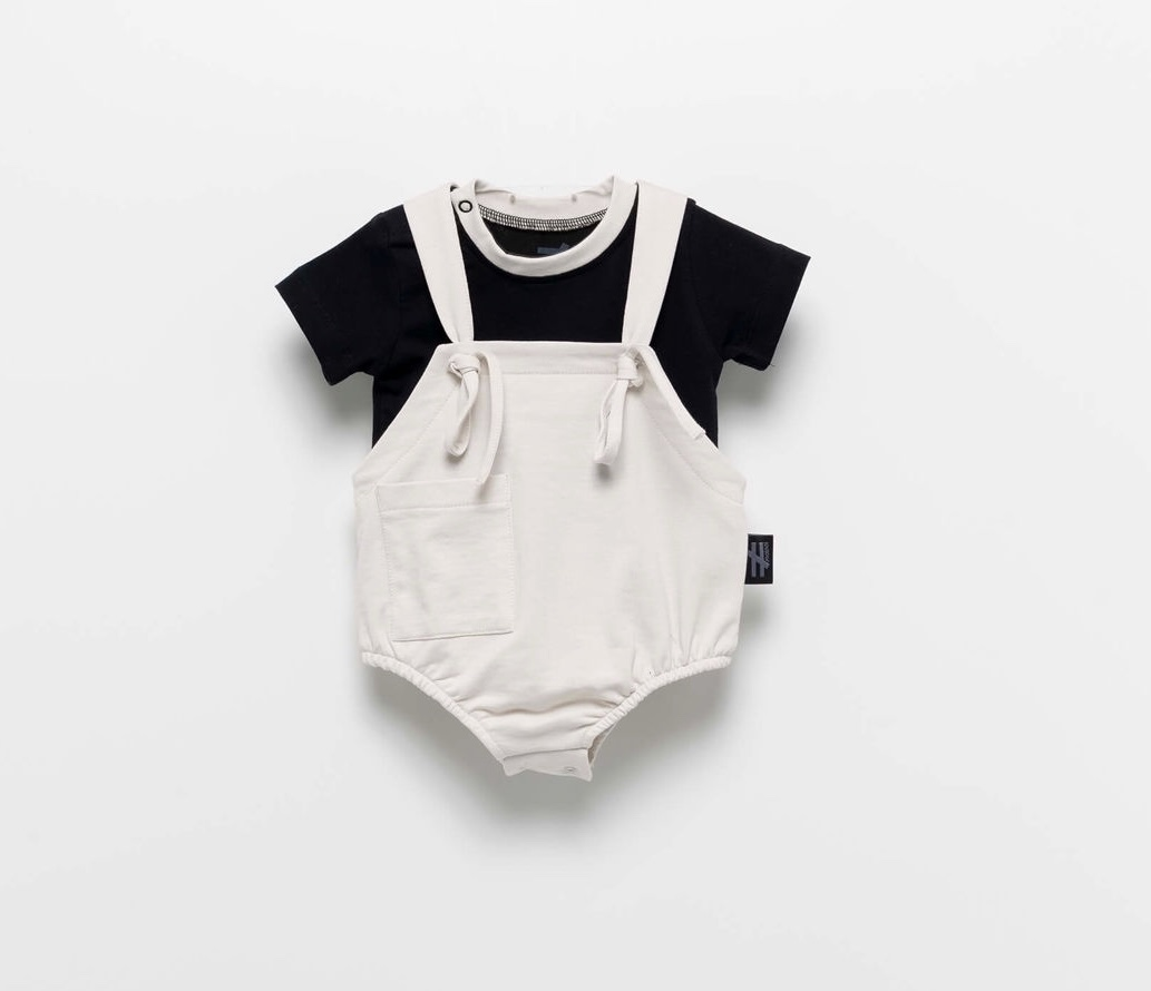 MOI NOI סט בגד גוף שרוכים אפור מידות 3-24 חודשים