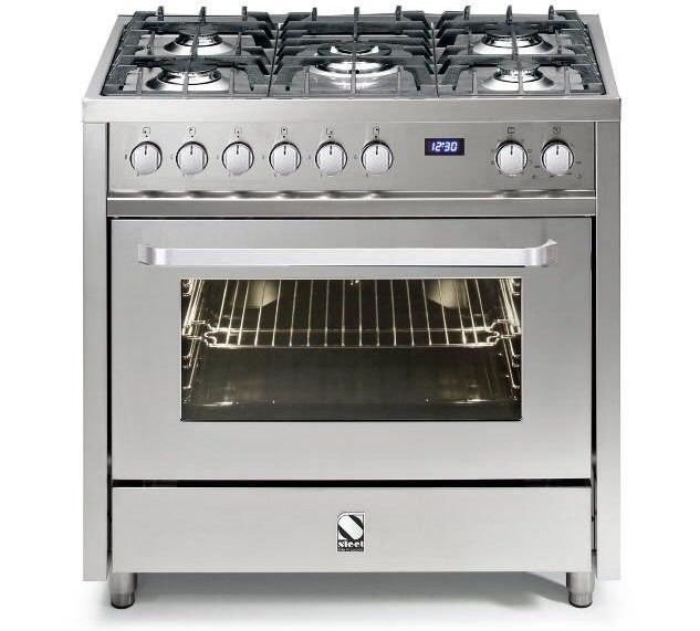 תנור בישול ואפיה משולב Steel V9F-5 Inox דגם Vista 90 נירוסטה