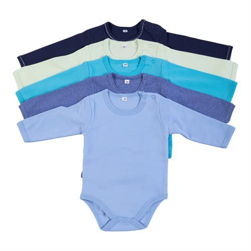 מארז 5 בגדי גוף 9100 נייבי- ירוק ליים- טורקיז- כחול מלאנג' - תכלת פלנל