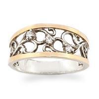 טבעת כסף רחבה מצופה זהב 9K מעוצבת עיטורים, משובצת אבני זרקון  RG8540