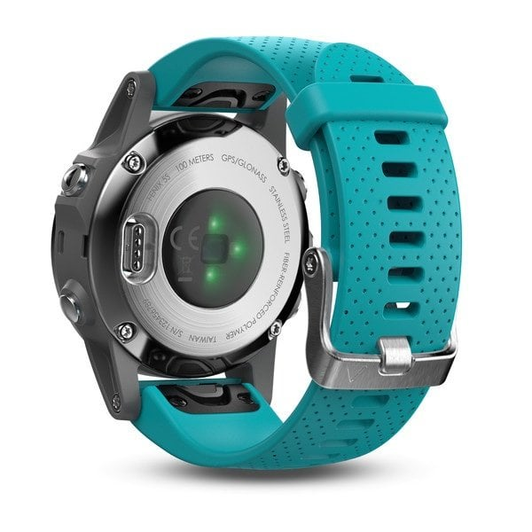 Garmin Fenix 5S Silver with turquoise band שעון דופק