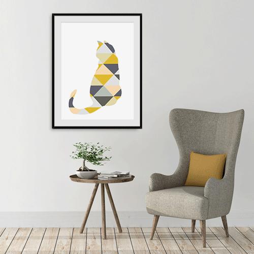 הדפס חתול אפור וצהוב
