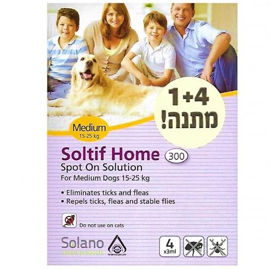 """סולאנו סולטיף לכלב במשקל 15-25 ק""""ג למניעת פרעושים וקרציות 5 יחידות"""