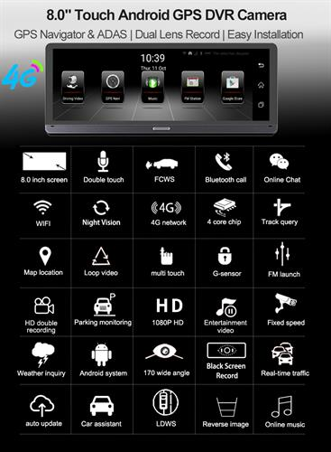 מצלמת דרך מקצועית 4G אנדרויד 5.1 עם GPS מובנה WIFI וחיישן תנועה צילום בזמן חנייה ושידור לסמארטפון