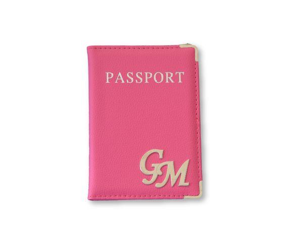 כיסוי לדרכון דמוי עור ורוד וכסף