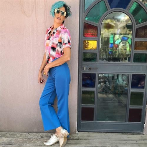 מכנסי שנות ה-70 כחולים מידה L/XL