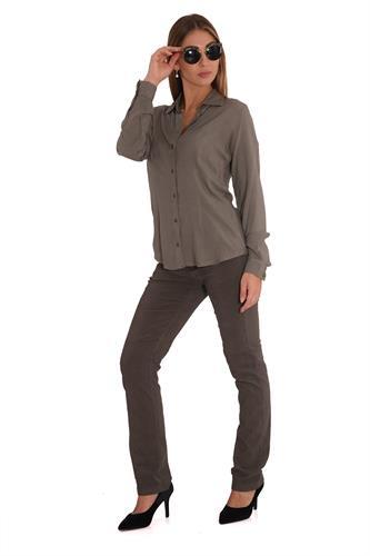 מכנס קורדרוי בגזרה ישרה בצבע זית