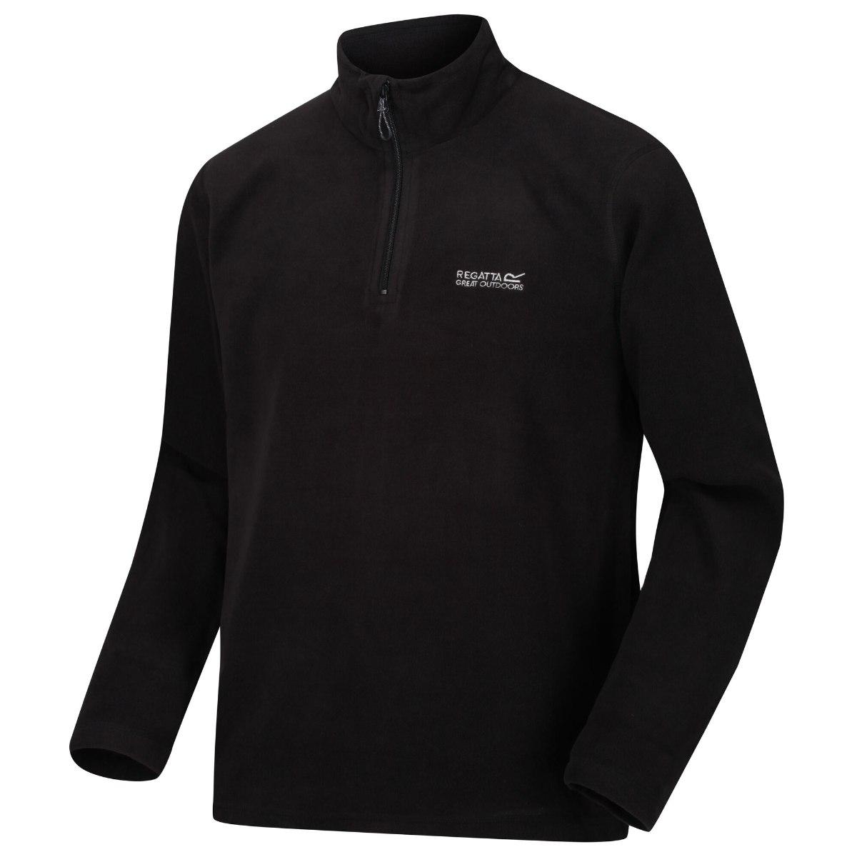 חולצת מיקרופליז גברים דגם Thompson שחורה מבית מותג אופנת המטיילים הבריטית Regatta Great Outdoors