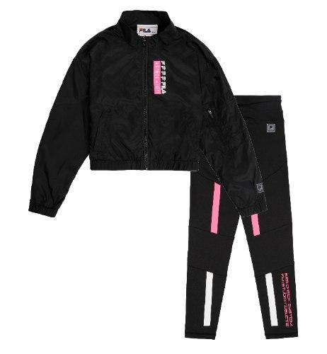 חליפת ניילון שחורה טייץ שחור בשילוב שחור FILA - מידות 6-16