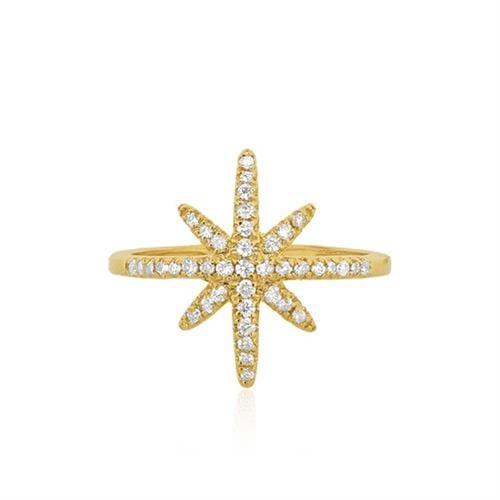 טבעת יהלומים בסגנון שושנת הרוחות 0.35 קראט בזהב 14 קרט