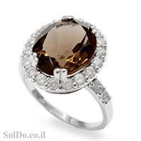 טבעת מכסף משובצת סמוקי קוורץ  RG1602 | תכשיטי כסף 925 | טבעות כסף