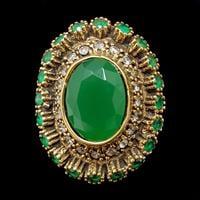 טבעת מכסף משובצת קוורץ ירוק ואבני זרקון לבנות  RG5682 | תכשיטי כסף 925 | טבעות כסף