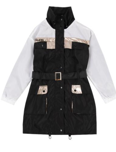 שמלת ג'קט ניילון שחור לבן  FILA