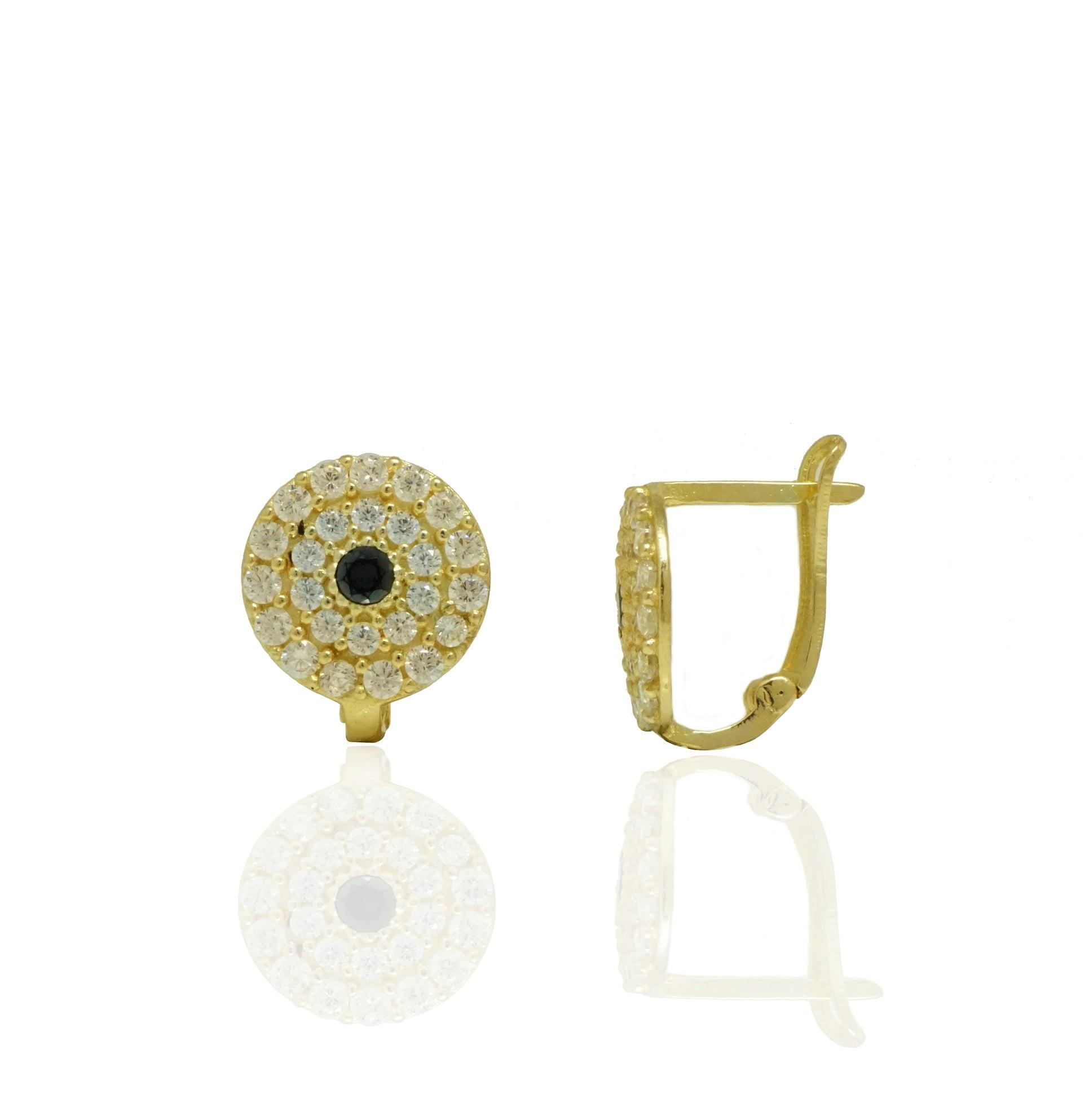 עגילי זהב נתלים משובצים זרקונים בזהב 14 קאראט
