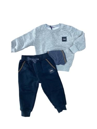 FILA חליפת תינוק אפור גי'נס מידות 6-24M