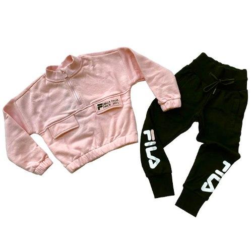 חליפת קרופ טופ ורוד עם מכנס שחור FILA בנות - מידות 2-8