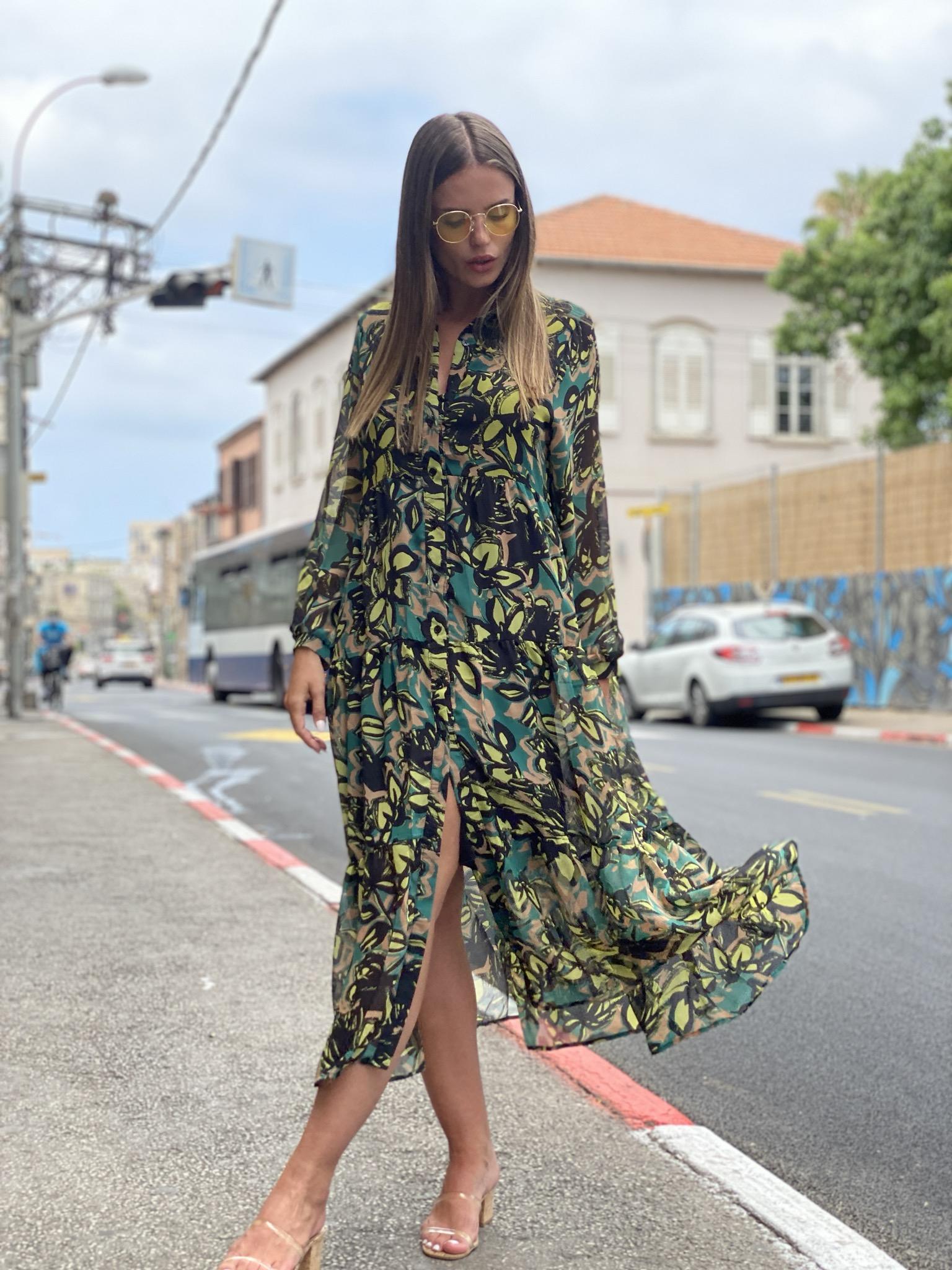 שמלה שיפון פרחים ירוק