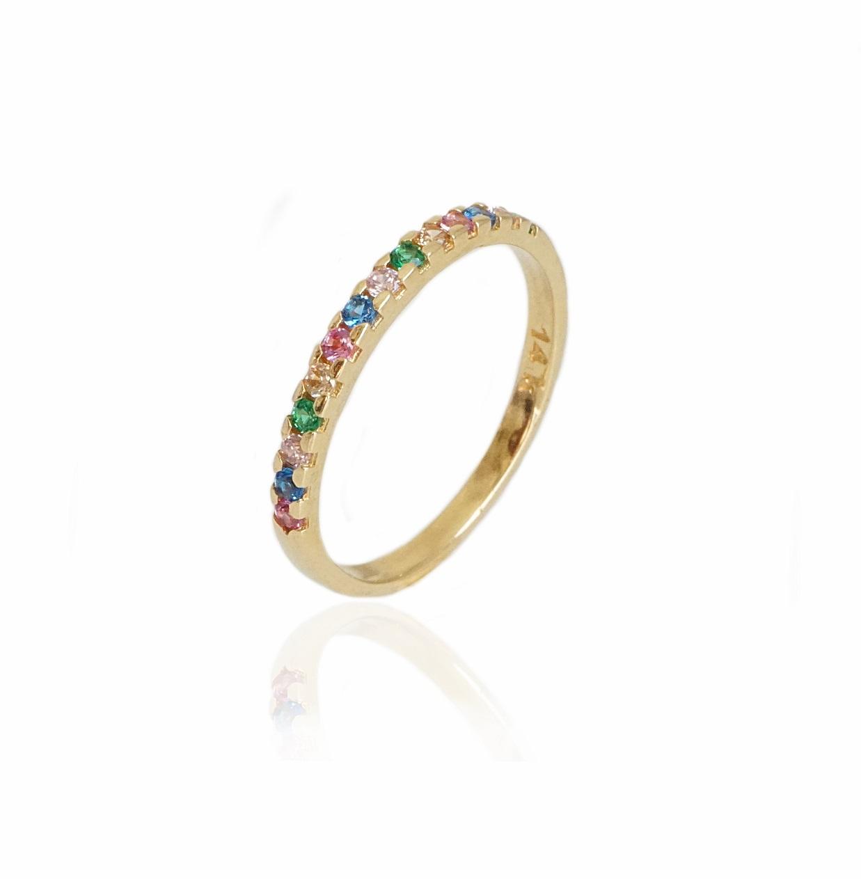 טבעת איטרניטי  זרקונים צבעוניות בזהב 14 קרט|טבעת זהב משלימה