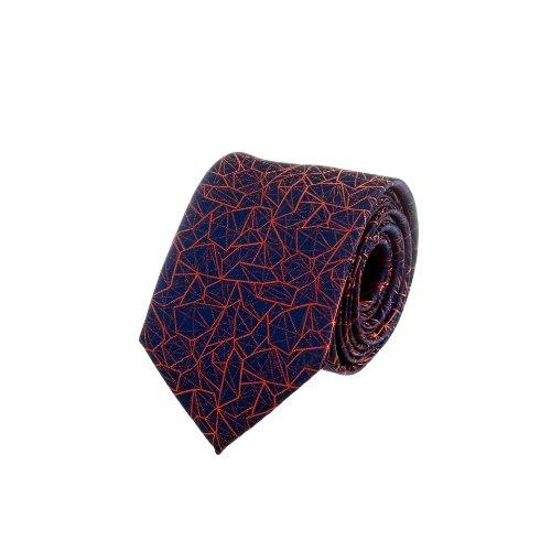 עניבה דגם גאומטרי כחול - כתום