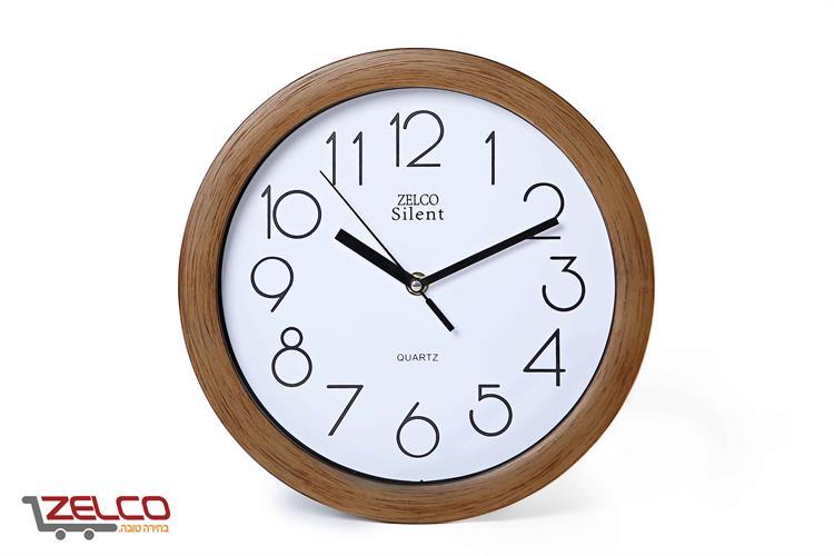 שעון קיר עגול דמוי עץ צבע מייפל