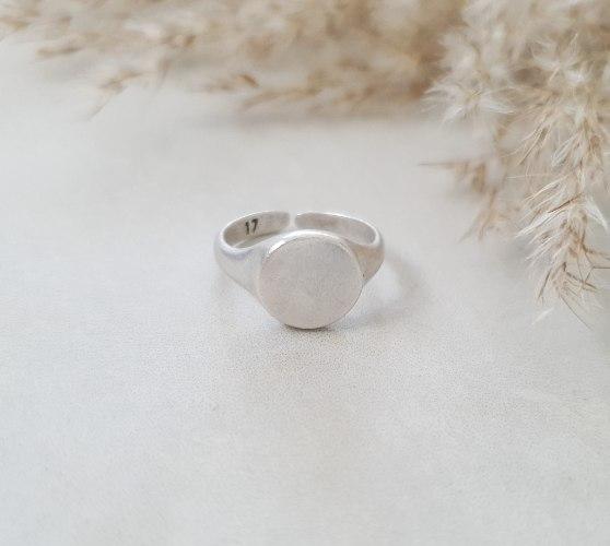 טבעת חותם עיגול כסף