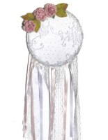 לוכד חלומות בשילוב תחרה לבנה ופרחים, לעיצוב חדרי ילדים ותינוקות