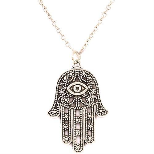 Popular Womens Hamsa Fatima Hand Pendant Silver Necklace Jewish Judaica Kabbalah
