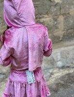 חליפת חצאית קפוצון  קטיפה ורוד (2-16)