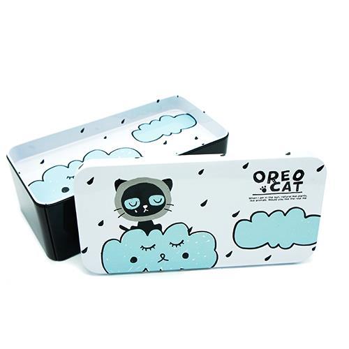 קופסת אחסון מפח - חתול בעננים