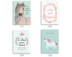 סט של 4 תמונות השראה מעוצבות לתינוקות, לסלון, חדר שינה, מטבח, ילדים - תמונות השראה חד קרן