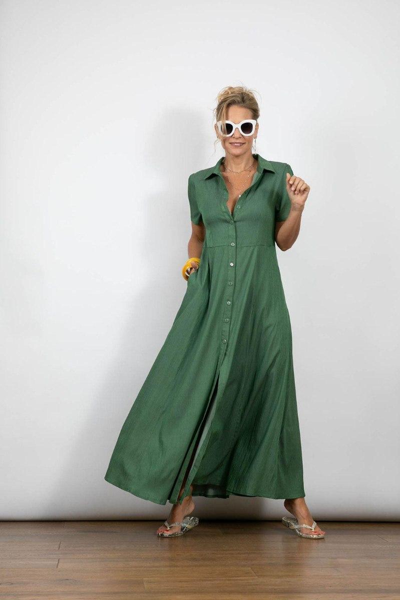 שמלת מקסי כפתורים ירוקה