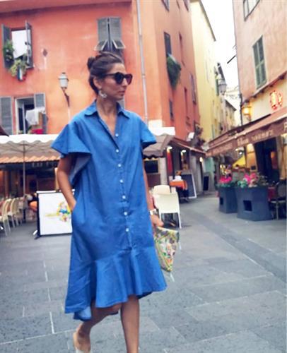 שמלת ג׳ינס כפתורים - כחול כהה