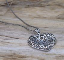 שרשרת לב תחרת לבבות מכסף