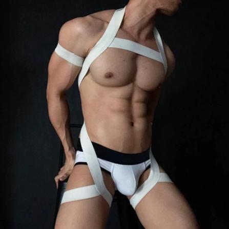 חליפת רתמה לגבר האקטיבי בצבע לבן