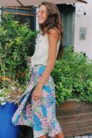 חצאית מעטפת קולומביה הדפס עלים צבעוני