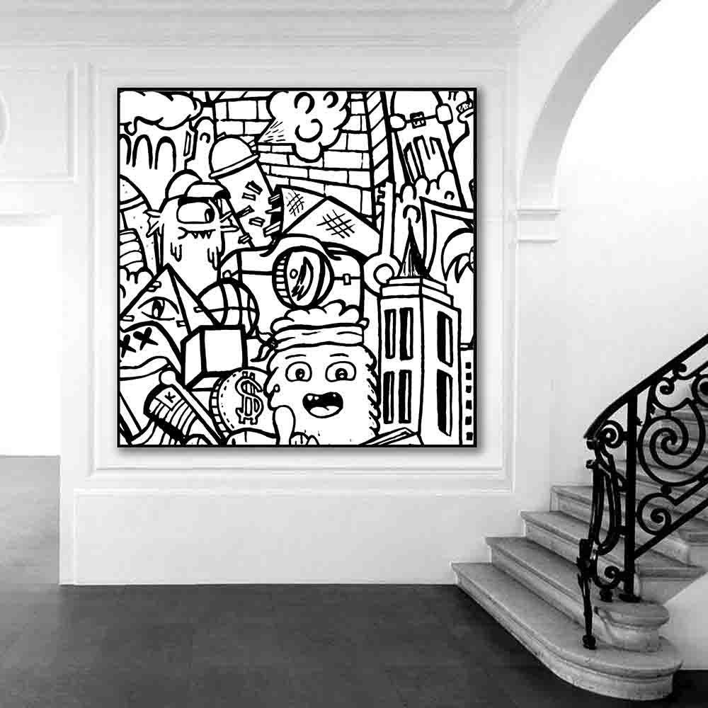 ציור גרפיטי שחור לבן לעיצוב הבית של האמן כפיר תג'ר