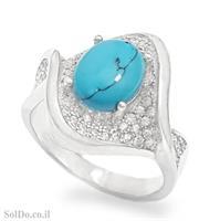 טבעת מכסף משובצת אבן טורקיז וזרקונים RG6092 | תכשיטי כסף 925 | טבעות כסף