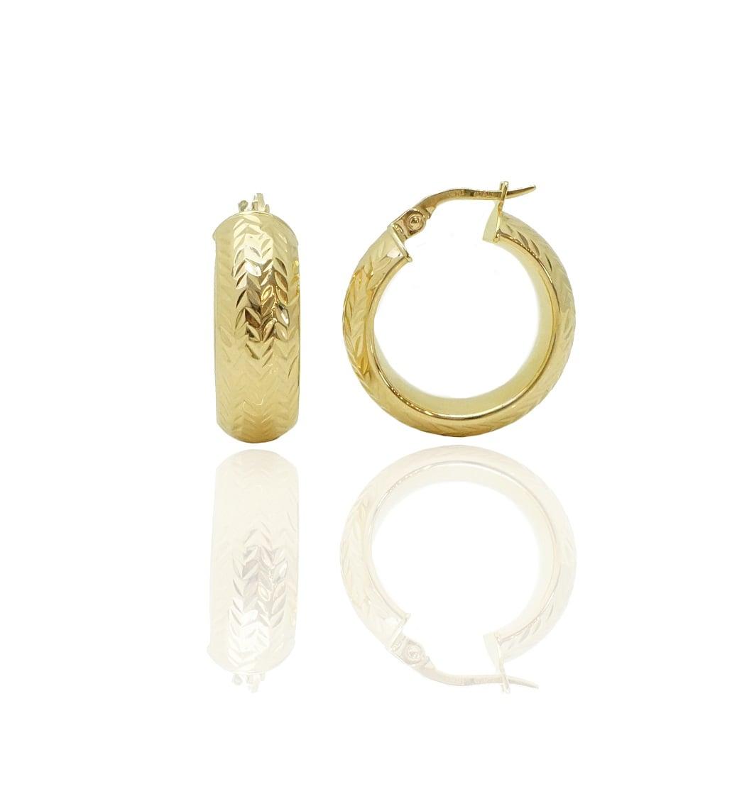 עגילי חישוק זהב קטנים עבים עם חיתוך לייזר לאישה\נערה