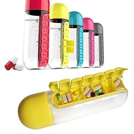 בקבוק מים עם ארגונית גלולות יומית נשלפת