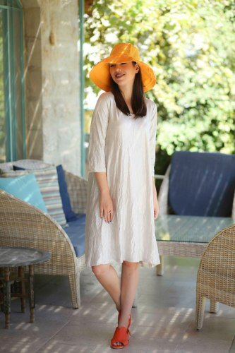 שמלת מנגו לבנה כסופה