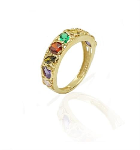 טבעת זהב עם זרקונים צבעוניות עם נוכחות לאישה