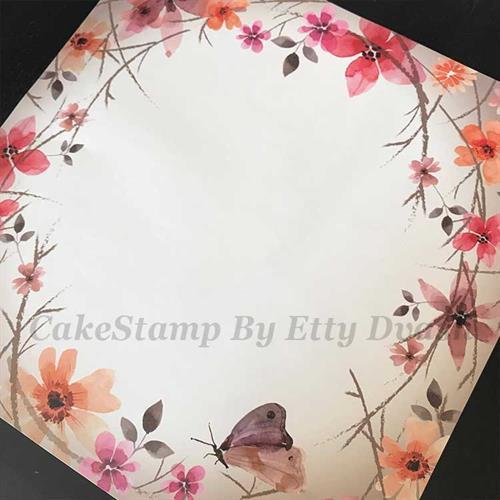 5 יחידות פרחים רומנטי - טפט חזק ואיכותי לעיטוף משטח עוגה.