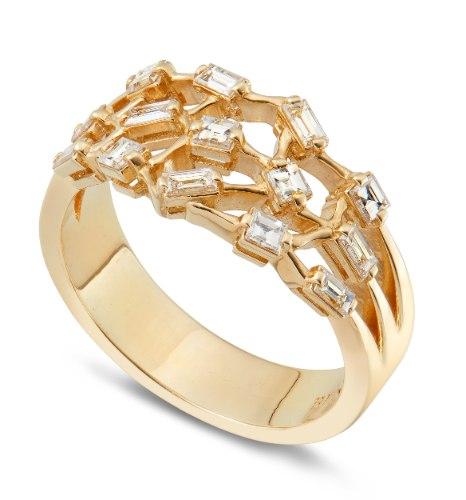 טבעת קלואה זהב 14 קראט ויהלומים לבנים