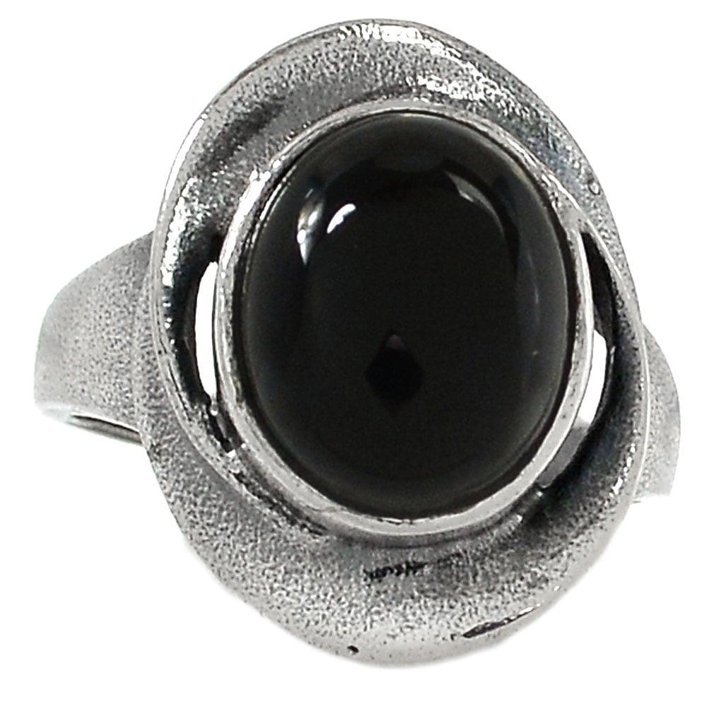 טבעת כסף מעוצבת, משובצת אבן אוניקס שחורה  RG5747   תכשיטי כסף 925   טבעות כסף